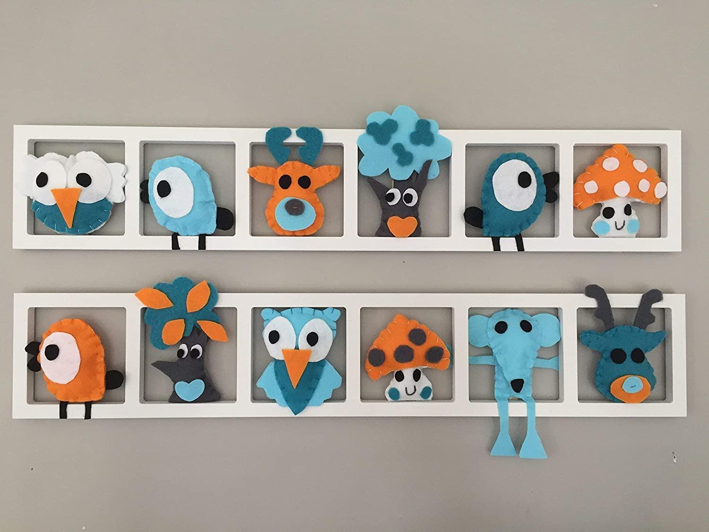 19 Décoration Murale Pour Chambre De Bébé Composition Orange Turquoise Et Gris