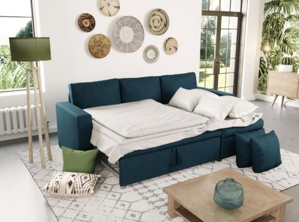 20 Canapé D'angle Maria Réversible Et Convertible Avec Coffre En Tissu Bleu