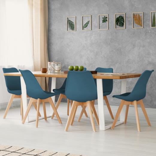 6 Chaises Salle à Manger Bleu Canard Idmarket
