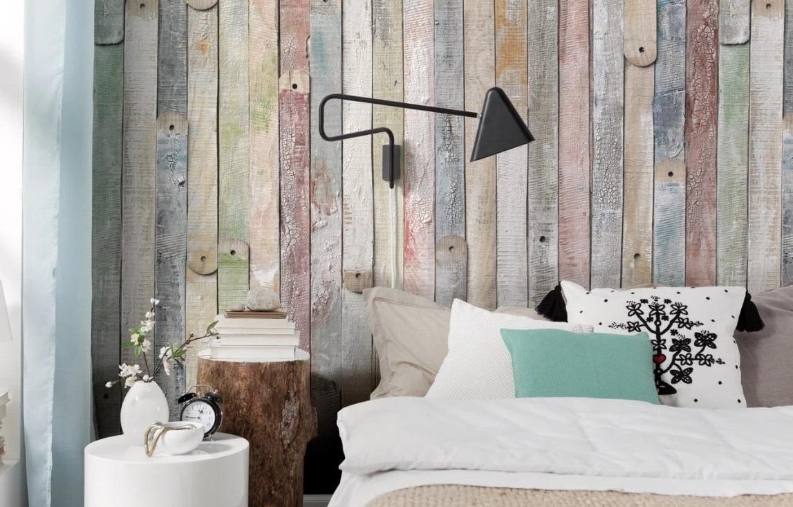 Papier Peint Style Palette, Panoramique Vintage Wood Multicolore Leroy Merlin