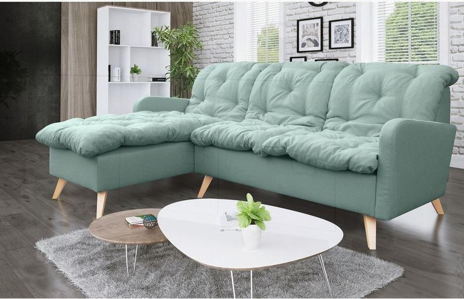 Canapé D'angle à Droite En Microfibre Vert Menthe –
