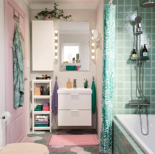 Salle de bain rose poudré