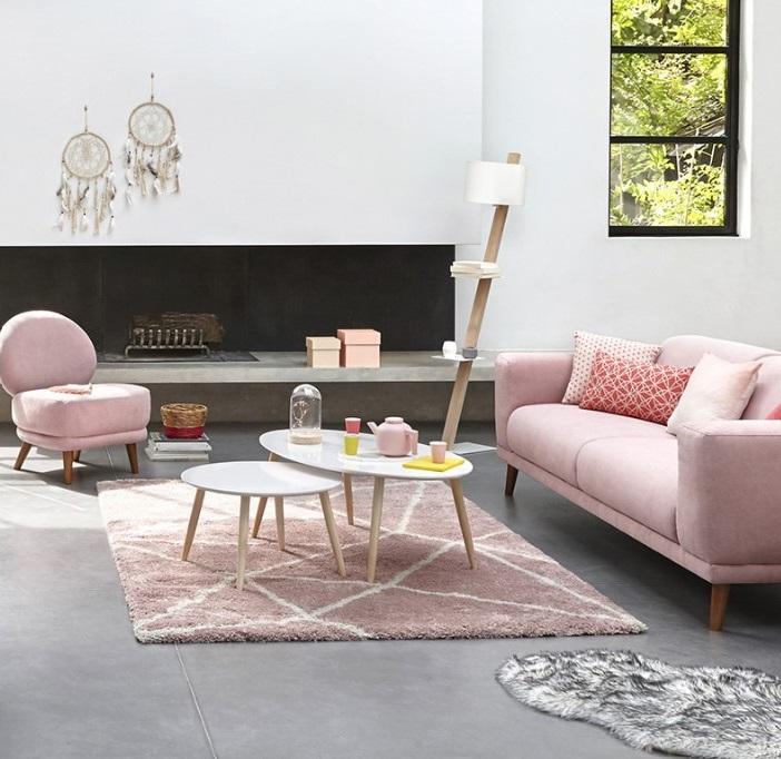 Canapé Rose Pour Un Salon Scandinave