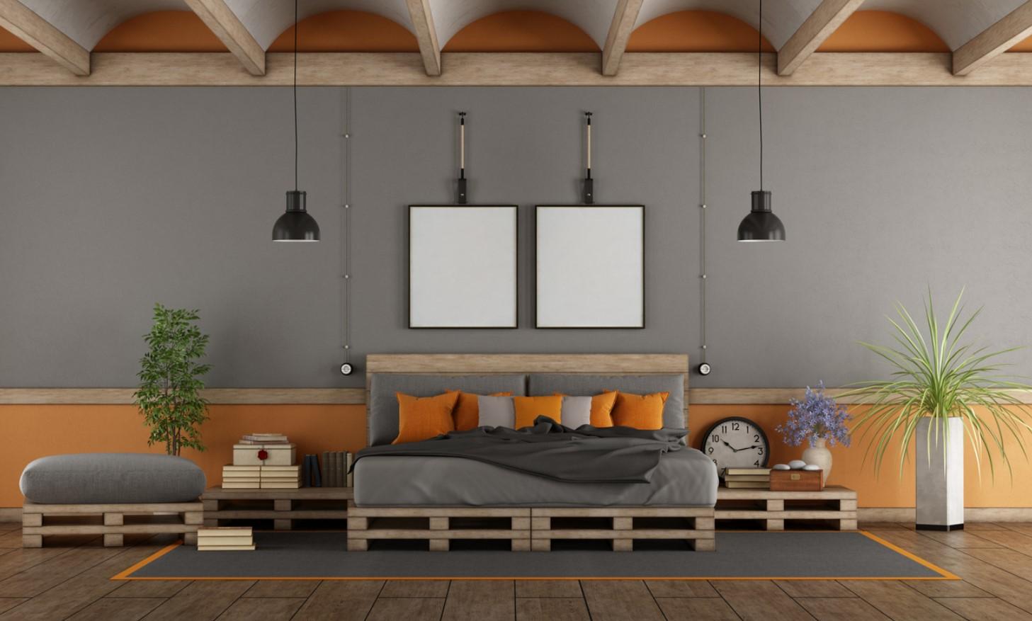 Lit En Palettes Avec Tables De Nuit Et Sur Deux Niveaux