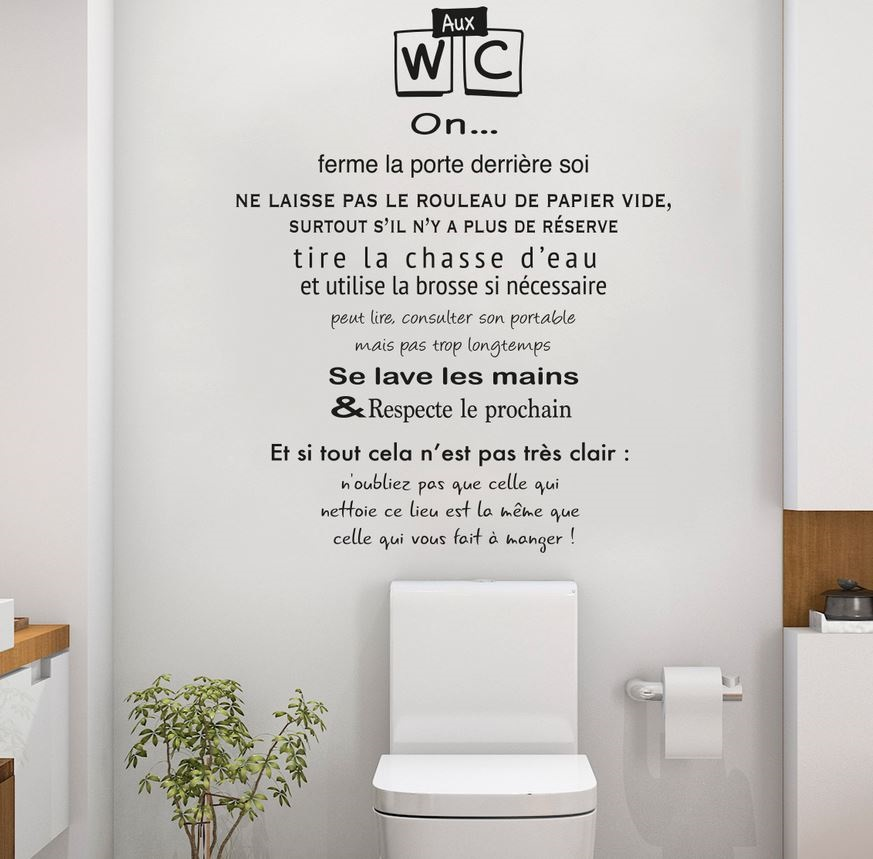 Sticker Citation Toilettes Règles –