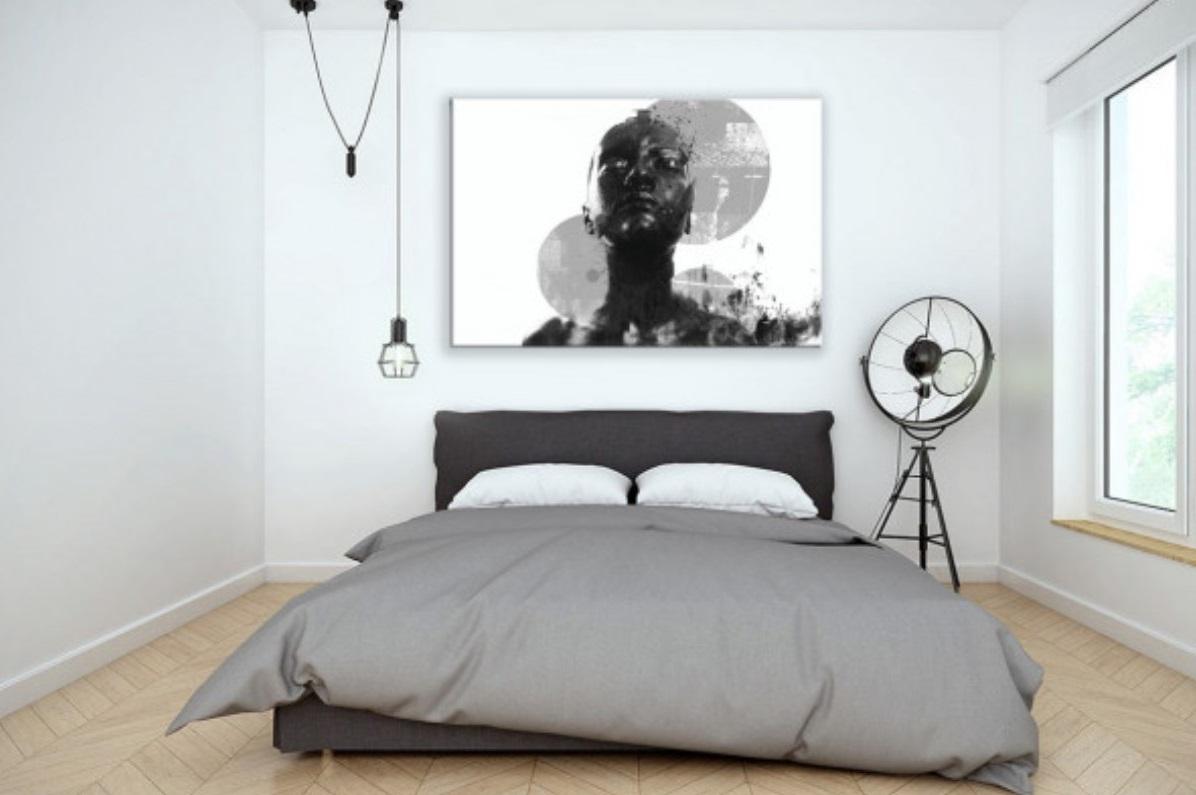 Chambre Moderne Avec Maxi Tableau Qui Surplombe Le Lit