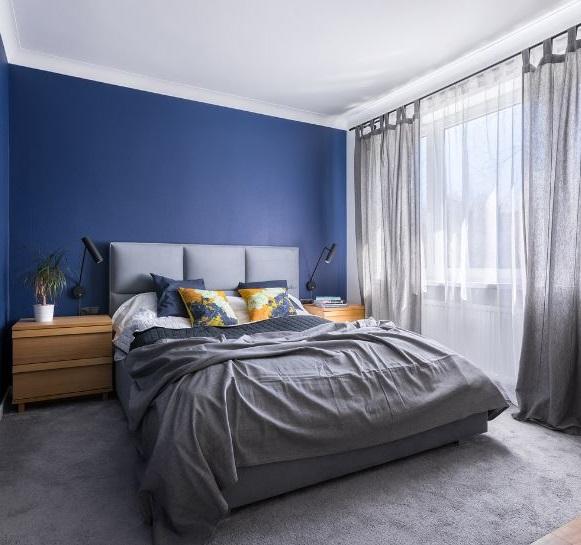 Chambre Murs Bleu, Linge De Lit Gris