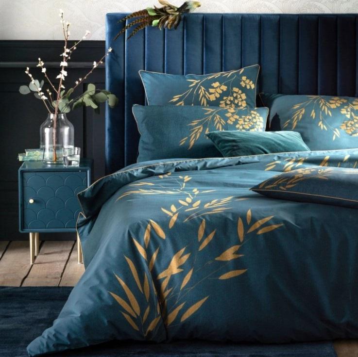 Chambre Bleue Avec Housse De Couette Percale Izumi