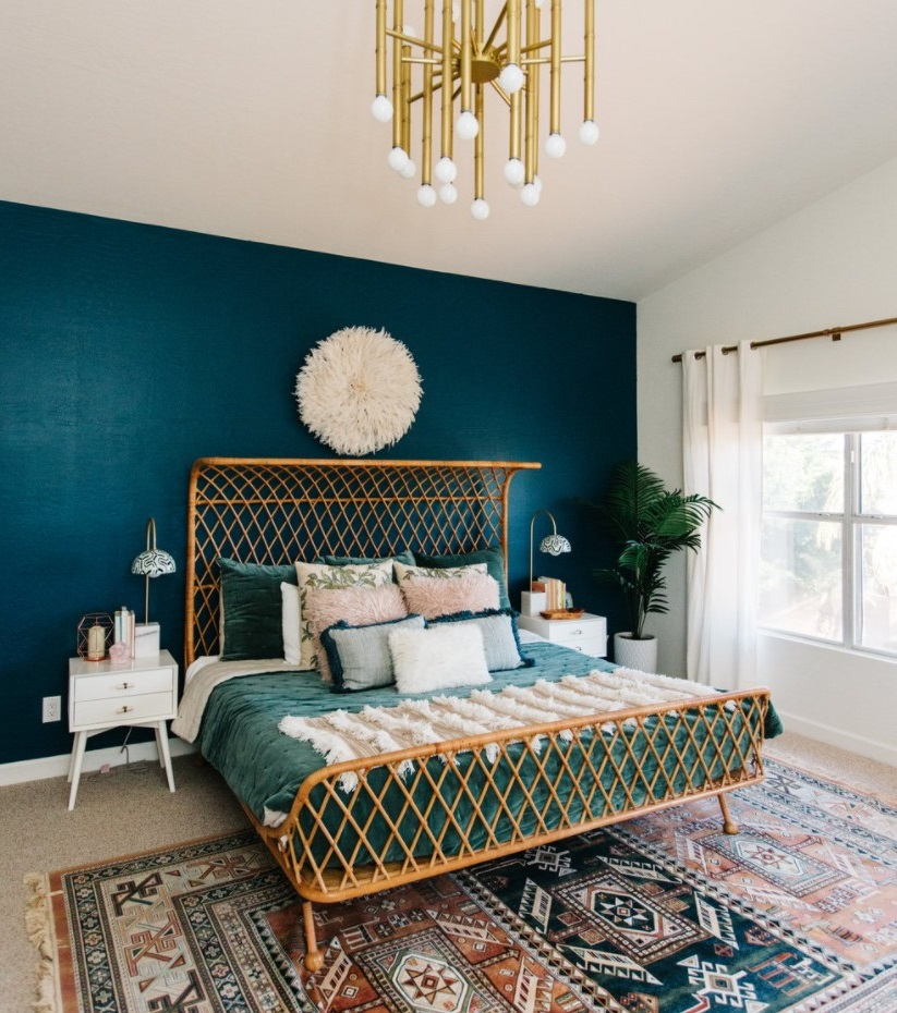 Chambre Bleu Canard Avec Grand Tapis