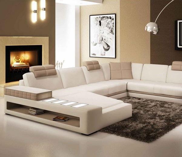 Canapé D'angle Panoramique En Cuir Blanc Et Taupe Marcus –