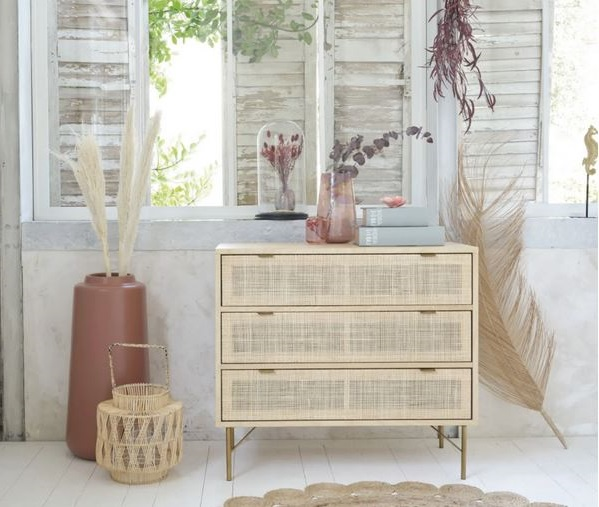 Solstice Commode 3 Tiroirs Cannage En Rotin –