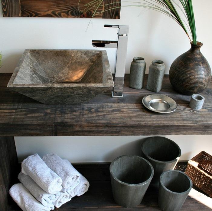 Vasque En Pierre Dans Une Salle De Bain Zen