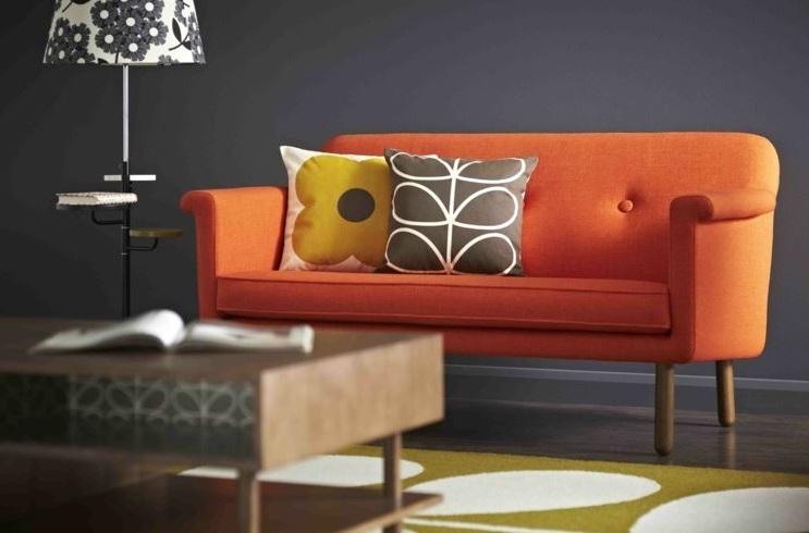 Salon Gris Et Orange Pour De La Modernité