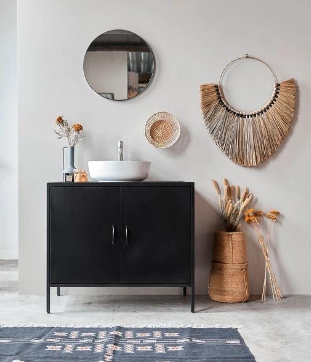 Meuble Sous Vasque Noir Et Accent Sur Les Accessoires