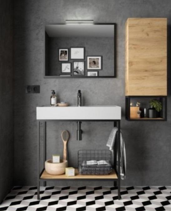 Meuble Et Vasque Pour Salle De Bain Noire Style Industriel