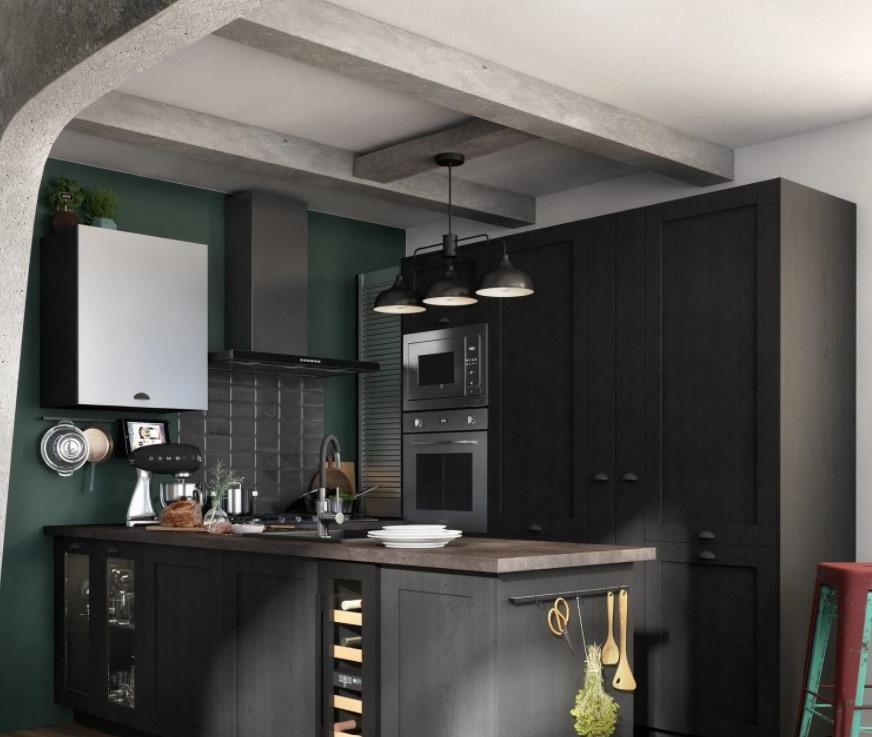 Cuisine Noire De Style Industriel