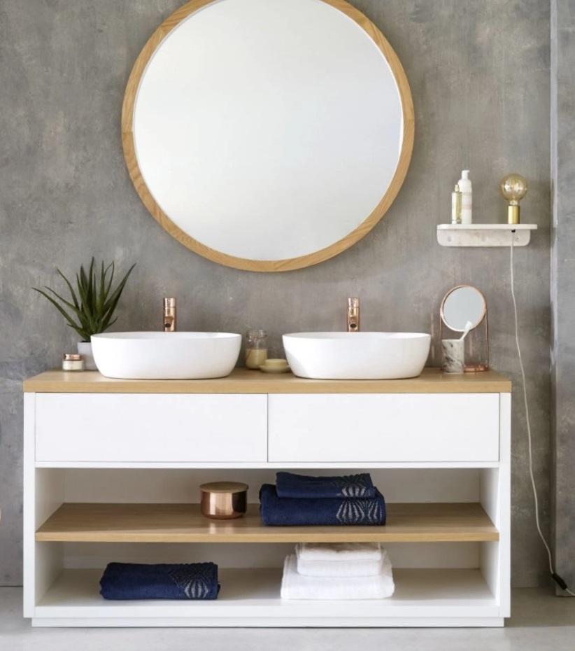 Miroir Rond Et Meuble Double Vasque Austral Pour Un Style Zen