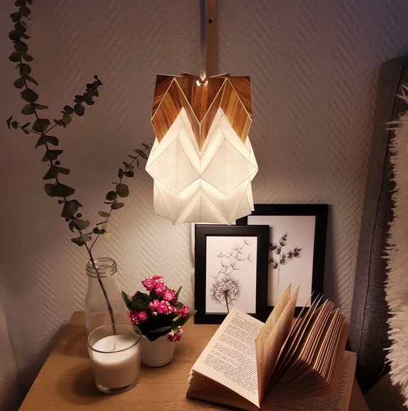 Houseki Petite Suspension Origami Design En Papier Et Ecowood