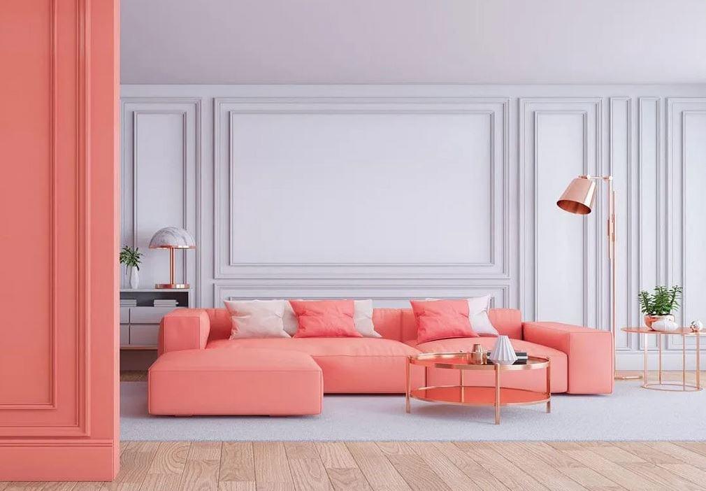 Un Salon Moderne En Corail Et Blanc–